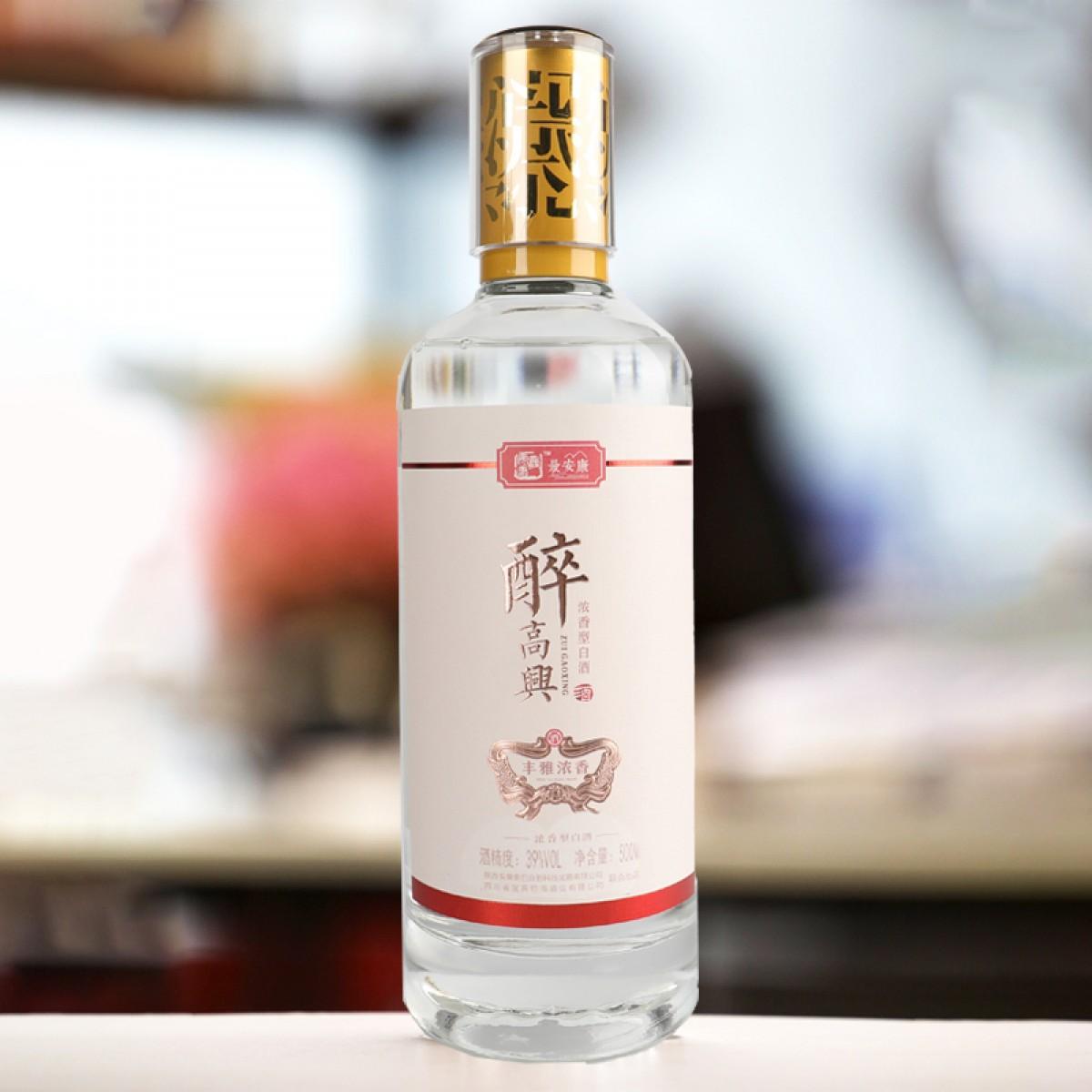 【最安康】最安康醉高兴白酒39°浓香型500ml瓶装