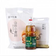 最安康米面油108元家庭优惠套餐(菜籽油1.8L*1;山田米2.5kg*1;山地小麦粉5kg*1)